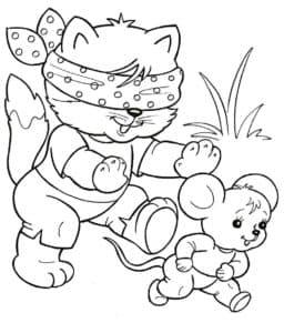 кот догоняет мышку