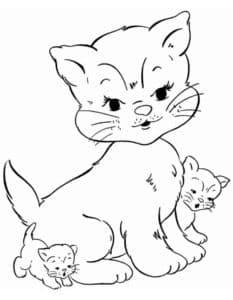 кошка и котята раскраска для детей