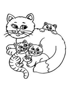 котята лежат возле кошки