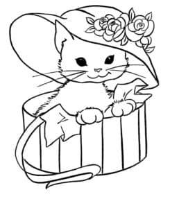 кошка в панаме с цветочками