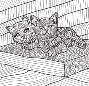 котята антистресс раскраска