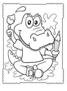 маленький крокодил художник