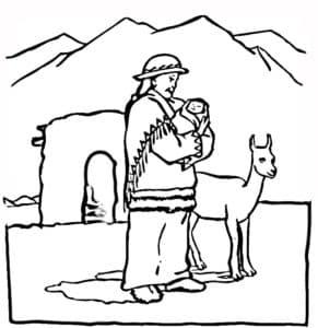 человек в шапке и лама