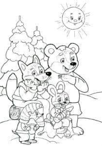 медведь лиса и зайчик