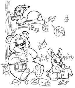 медведь белочка и заяц