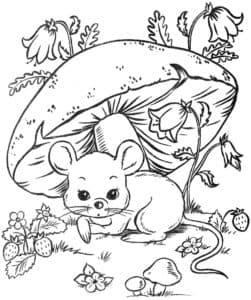 мышка под грибом