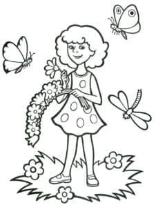 девочка с бабочками раскраска