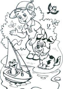 мальчик собачка и лягушка