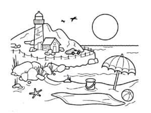 лето пляж и солнце раскраска