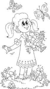 девочка с букетом и бабочки