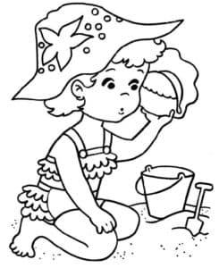 девочка лепит куличи