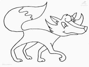 картинка раскраска лиса