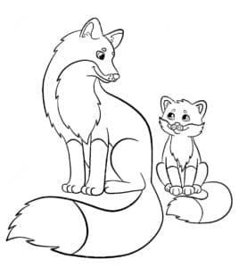 лиса и лисенок