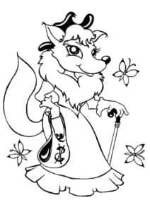 лисичка с сумочкой и тростью