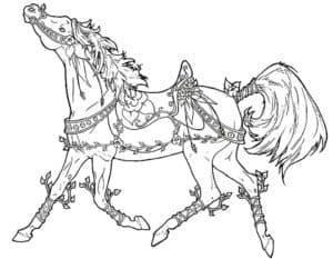 лошадка в узорах раскраска