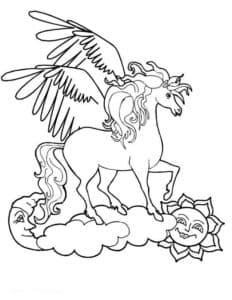 лошадь с крыльями на облаках