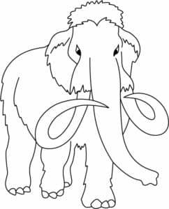 раскраска для детей мамонт