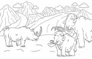 носорог и мамонты