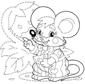 мышка раскраска с точками