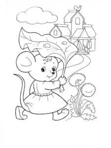 мышка под листиком
