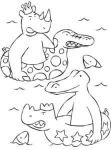 крокодил и носорог