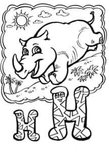 носорог раскраска буквы Н