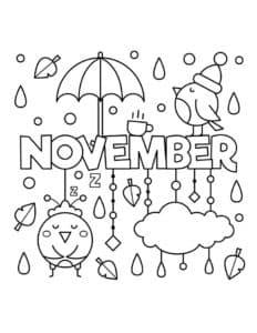 месяц ноябрь раскраска