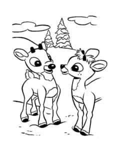 два мелких олененка