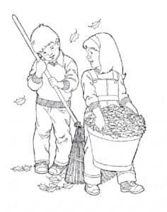 дети убирают листья осенью