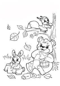 белочка медведь и заяц