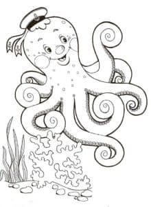 осьминог в фуражке