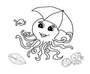 осьминог с зонтиком