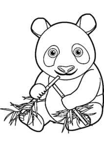 маленькая панда с бамбуком