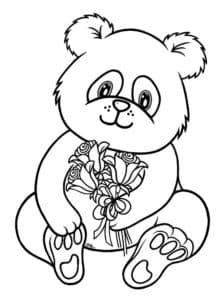 Панда с букетом цветов