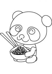 маленькая панда с тарелкой