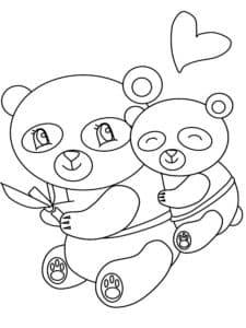 маленькие панды и сердечко