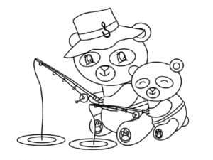 две панды на рыбалке