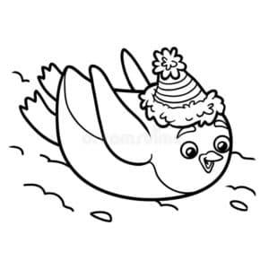 пингвин катается с горки