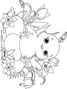птенец в цветочках
