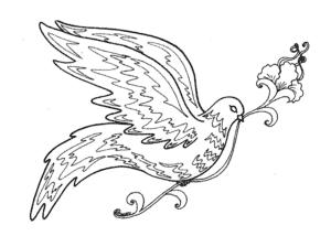 птичка с цветком