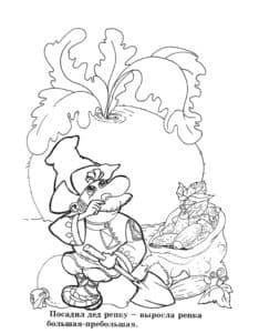 детская раскраска дед и репка