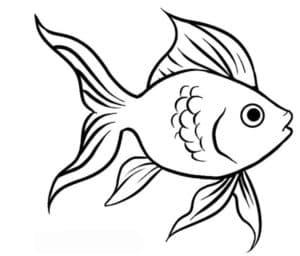детская раскраска золотая рыбка