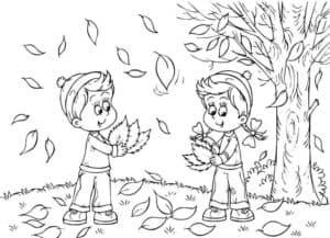 школьники собирают листья