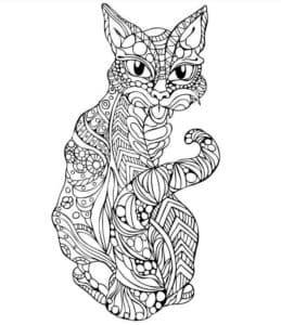 раскраска кот антистресс
