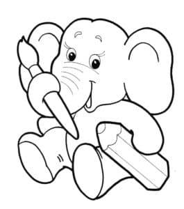 слоник с кисточкой и карандашом