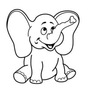раскраска для детей слоник