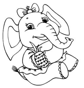 слониха с ананасом
