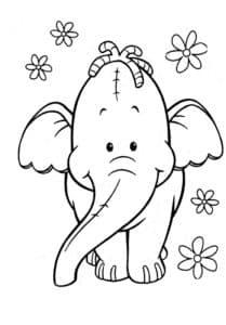 слоник и цветочки раскраска