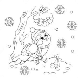 снегирь в шапке и шарфе