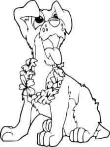 собака с ожерельем из цветов